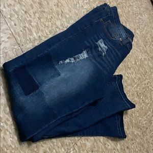 Fashion Nova Jeans Patch Work and Distressed